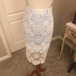 Lace and baby blue mini skirt
